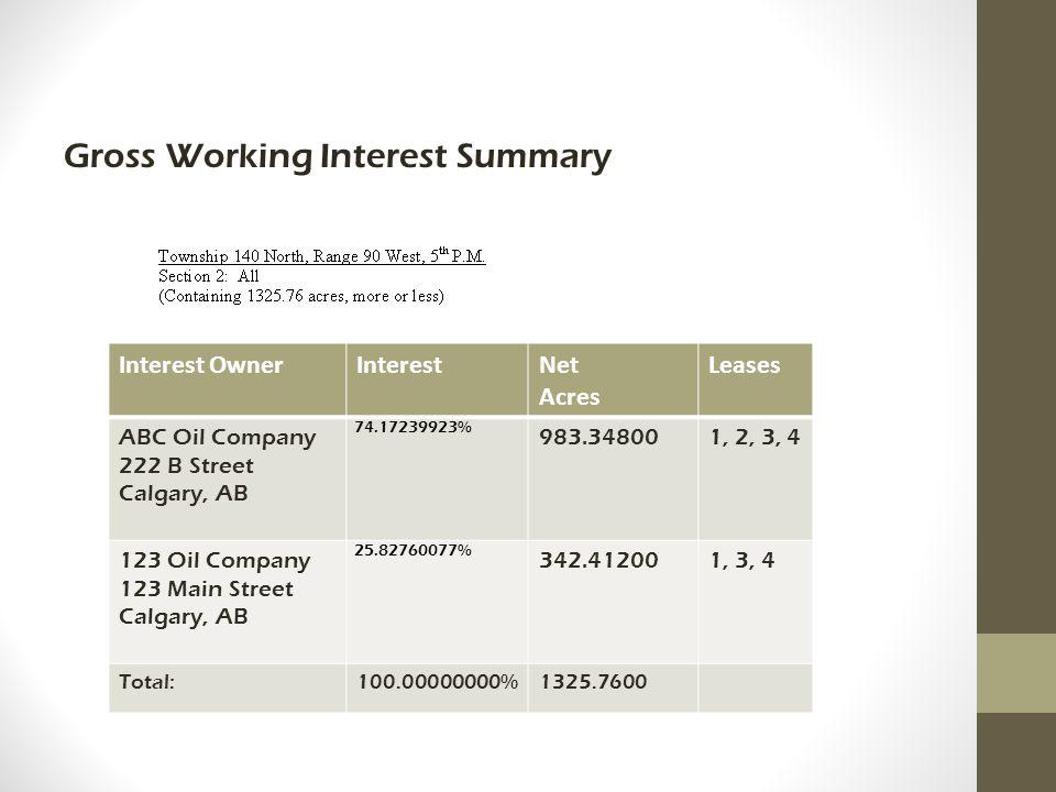Gross Working Interest Summary