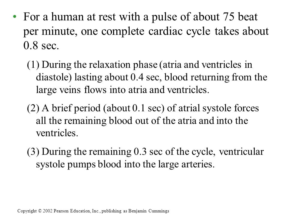 For a human at rest with a pulse of about 75 beat per minute, one complete cardiac cycle takes about 0.8 sec.
