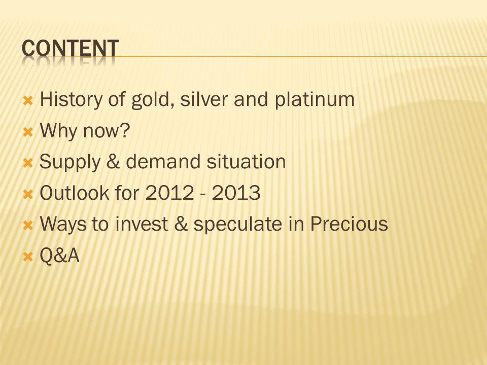 content History of gold, silver and platinum Why now