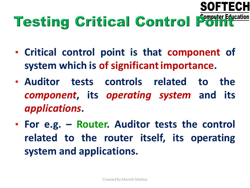 Testing Critical Control Point