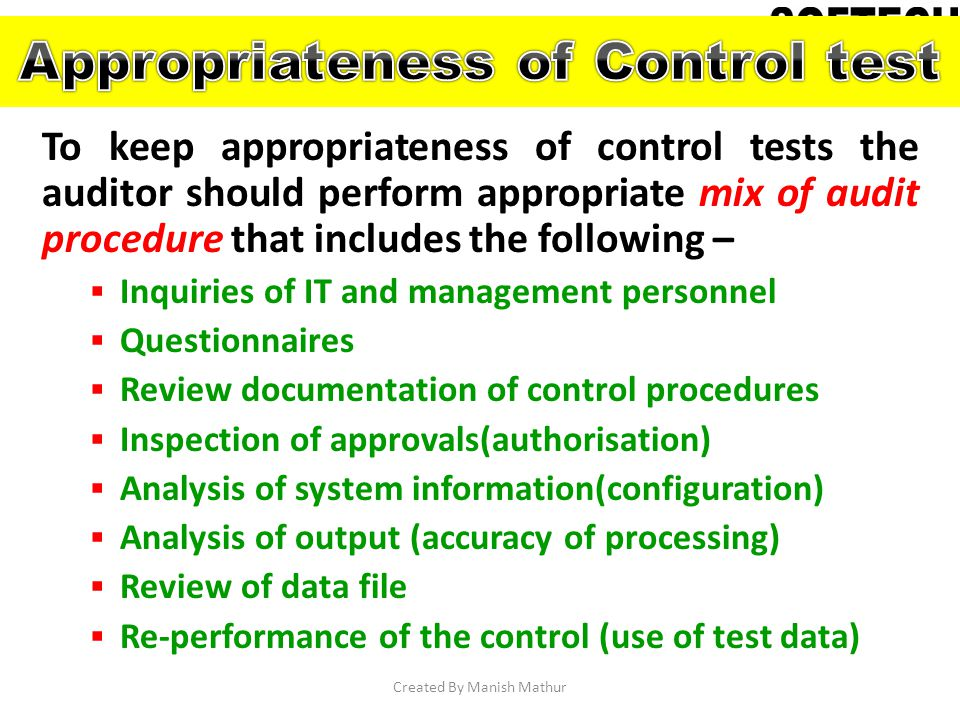 Appropriateness of Control test