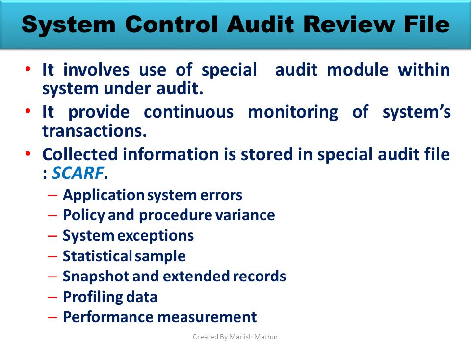 System Control Audit Review File