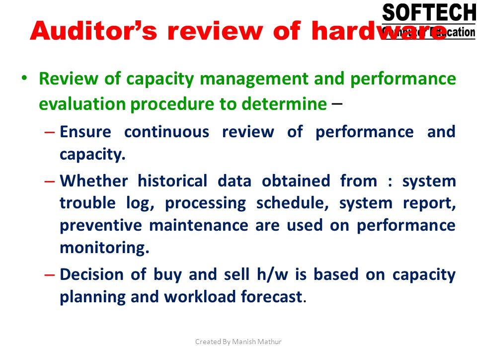 Auditor's review of hardware