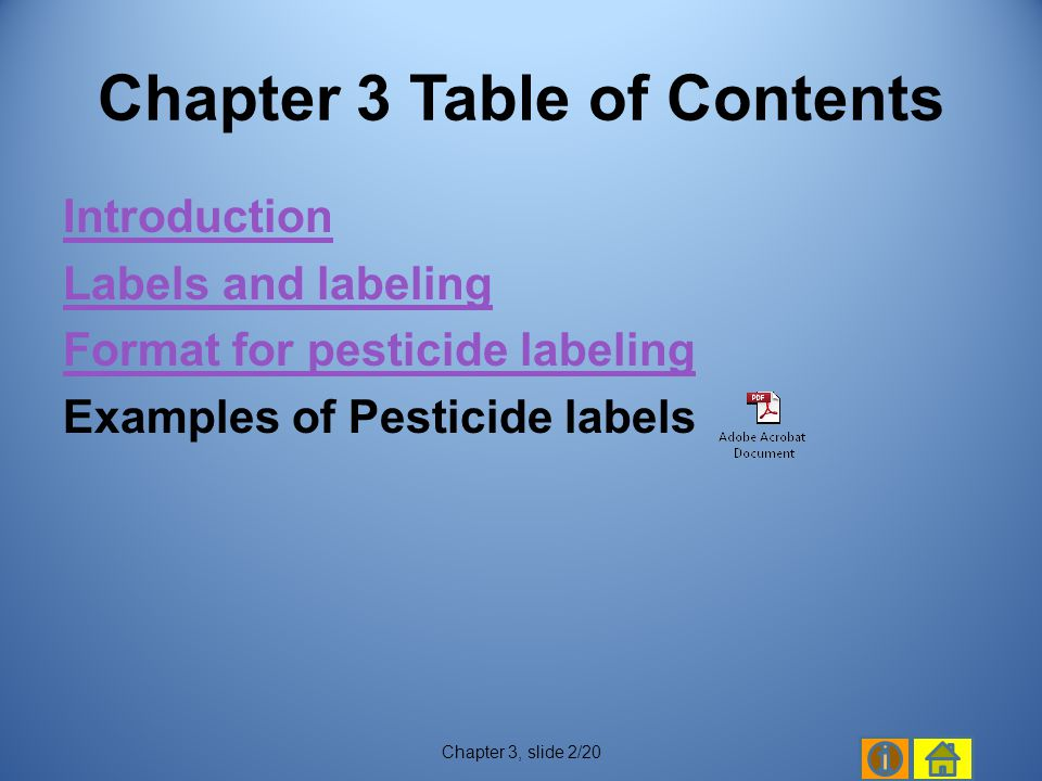 Chapter 3 Table of Contents