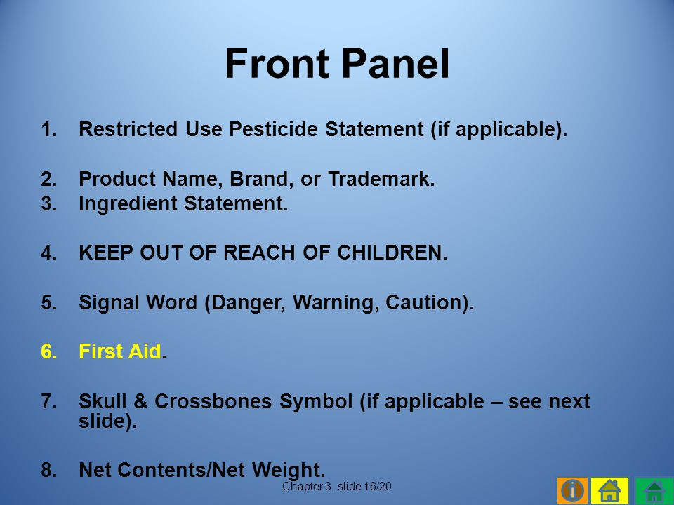 Front Panel Restricted Use Pesticide Statement (if applicable).