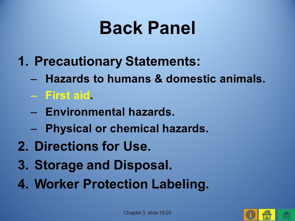 Back Panel Precautionary Statements: Directions for Use.