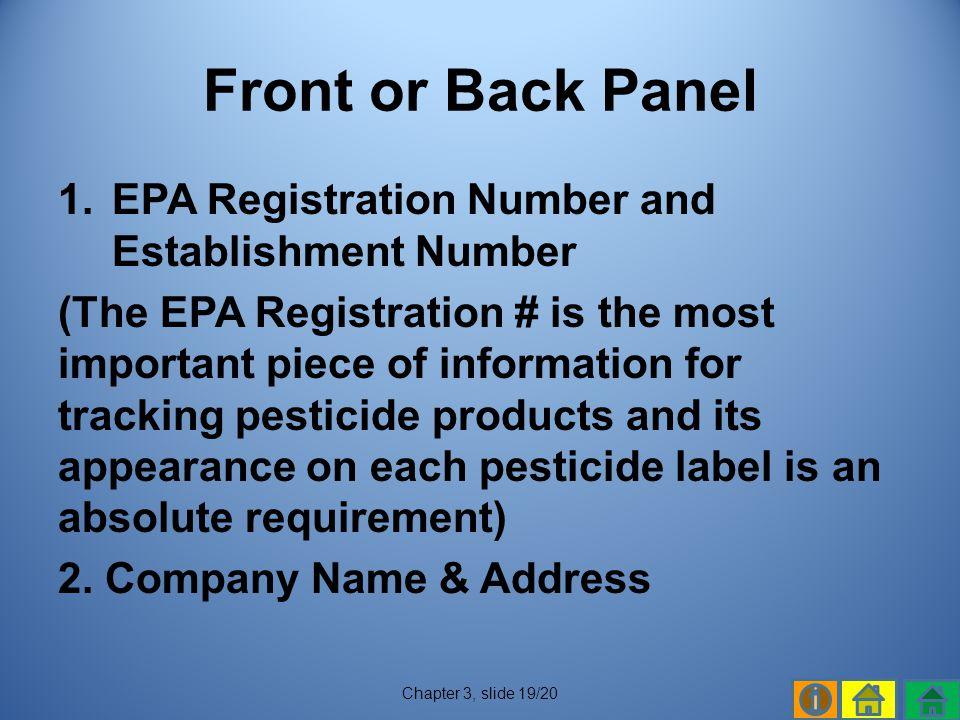 Front or Back Panel EPA Registration Number and Establishment Number