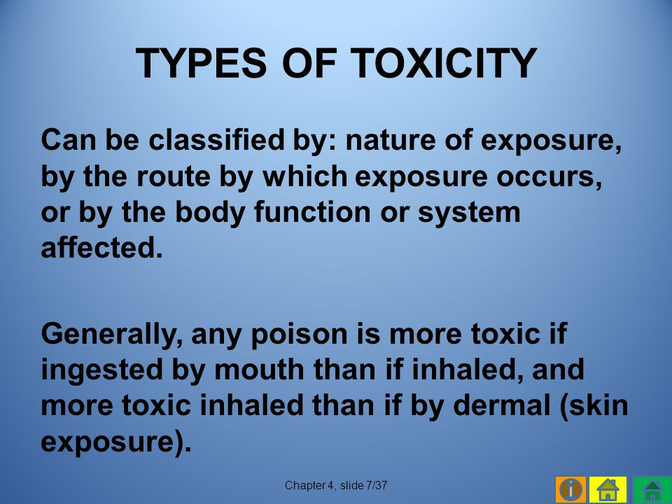 TYPES OF TOXICITY
