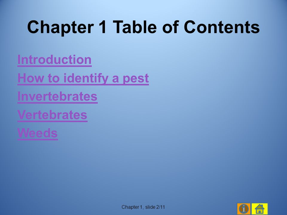 Chapter 1 Table of Contents