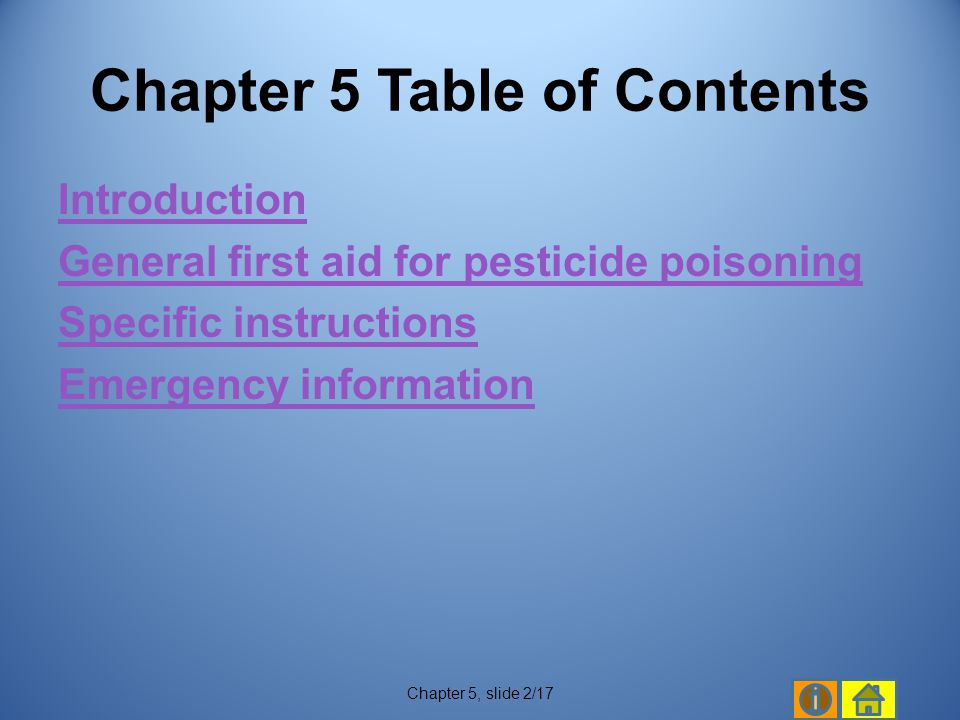 Chapter 5 Table of Contents