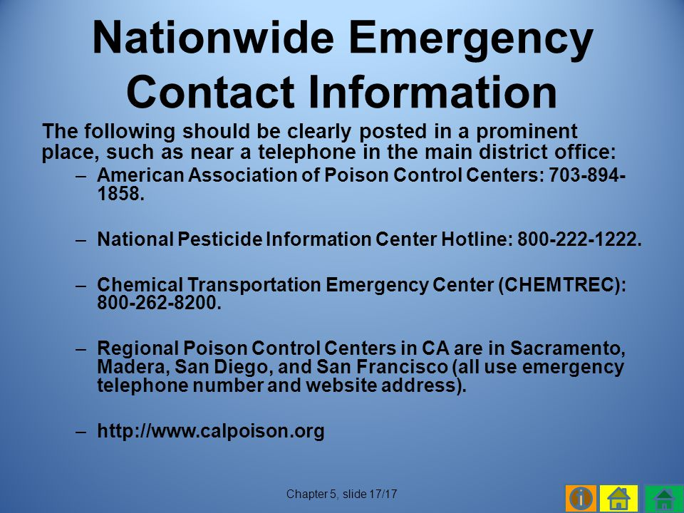 Nationwide Emergency Contact Information