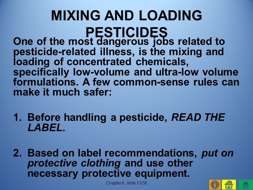 MIXING AND LOADING PESTICIDES