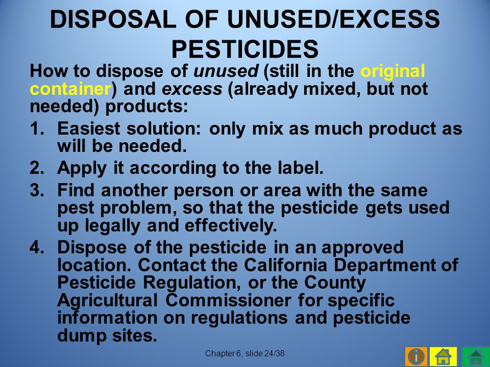 DISPOSAL OF UNUSED/EXCESS PESTICIDES