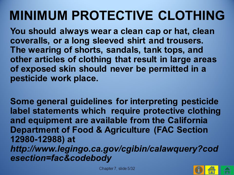 MINIMUM PROTECTIVE CLOTHING
