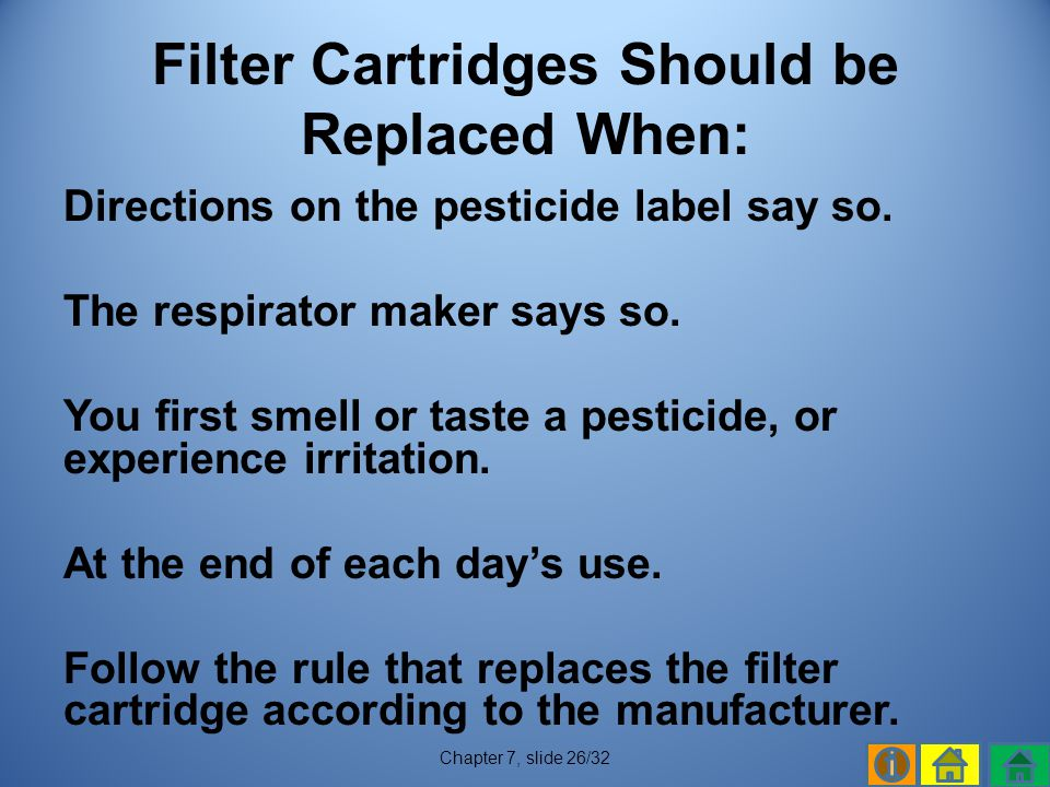 Filter Cartridges Should be Replaced When: