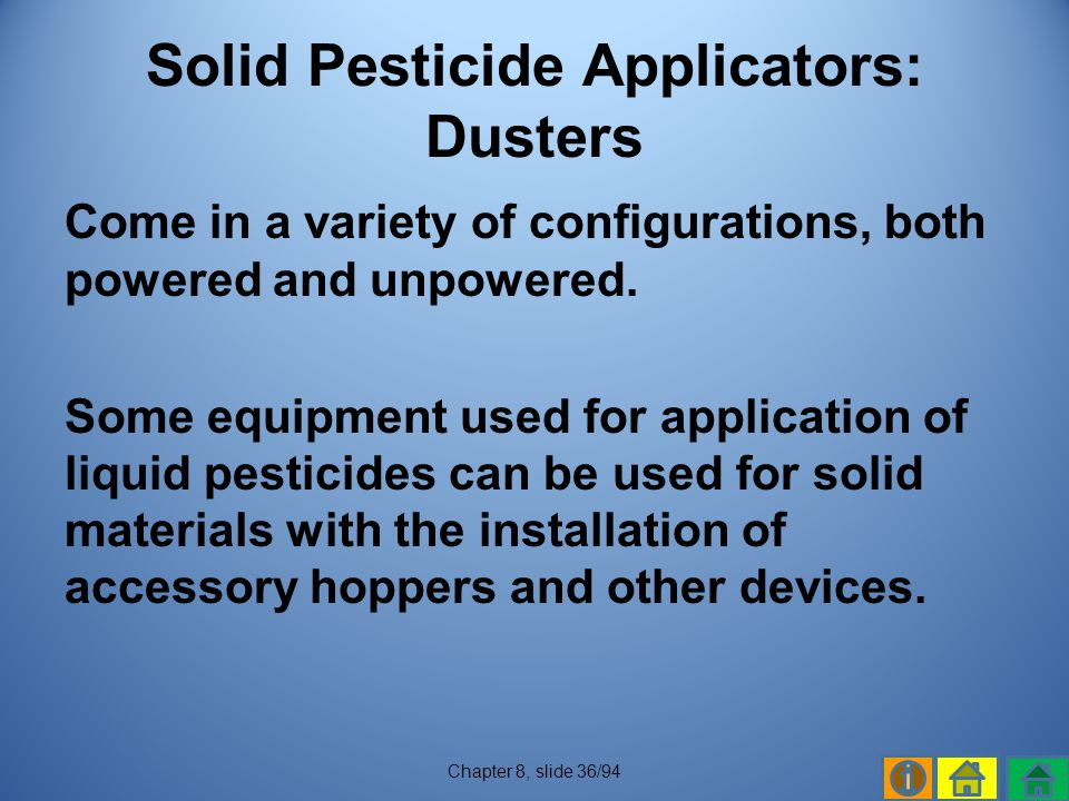 Solid Pesticide Applicators: Dusters