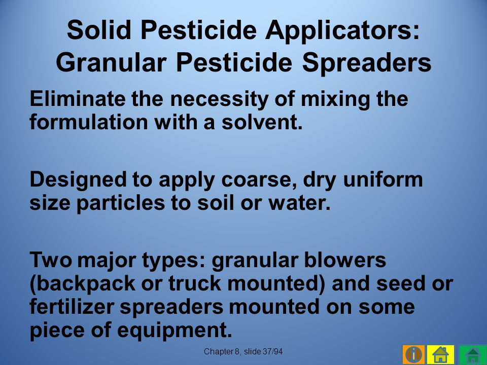 Solid Pesticide Applicators: Granular Pesticide Spreaders