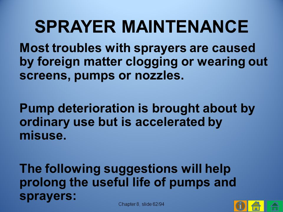 SPRAYER MAINTENANCE