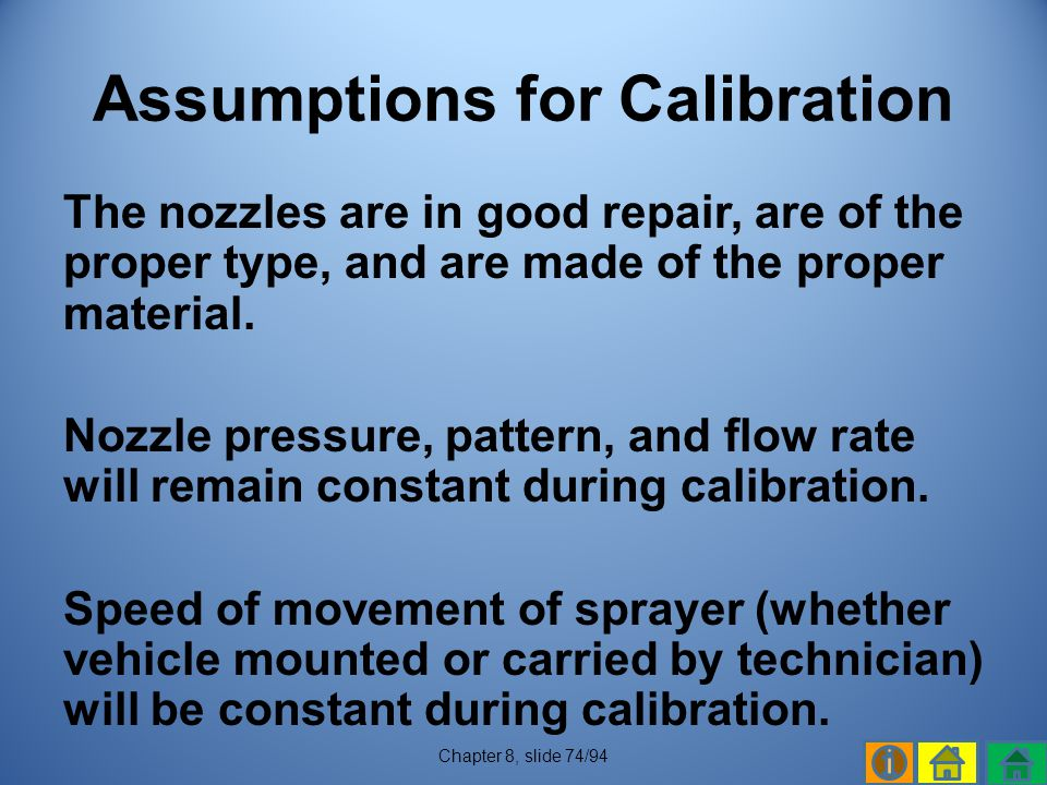 Assumptions for Calibration