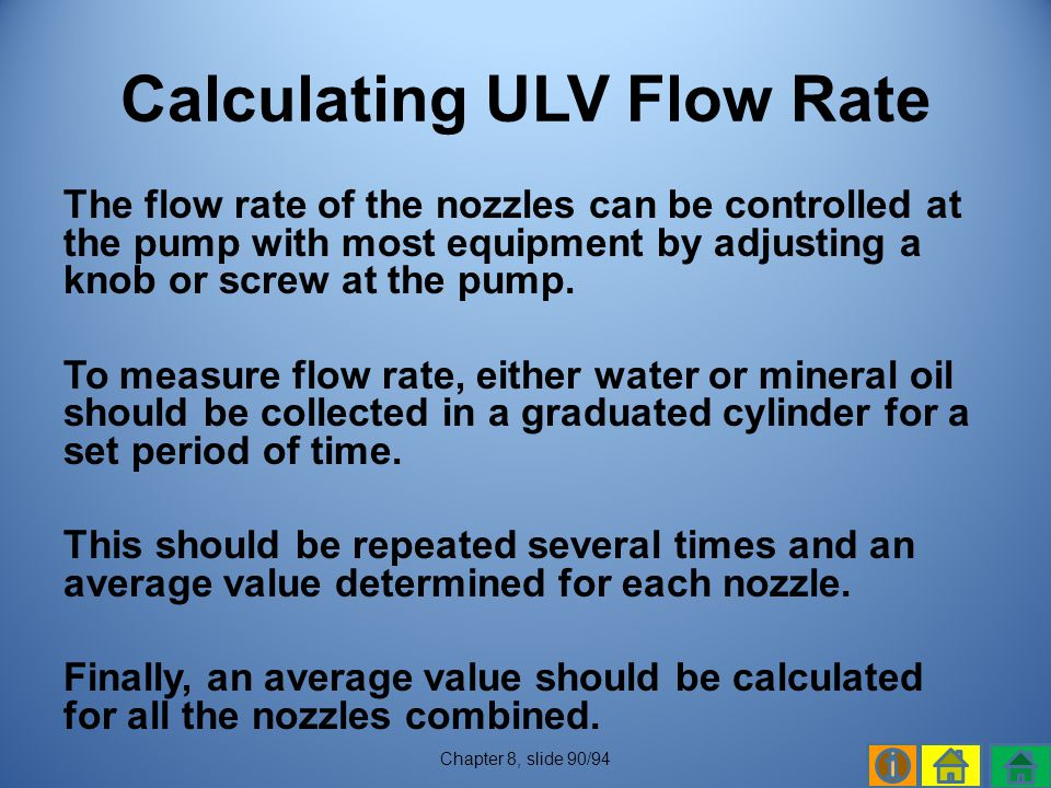 Calculating ULV Flow Rate