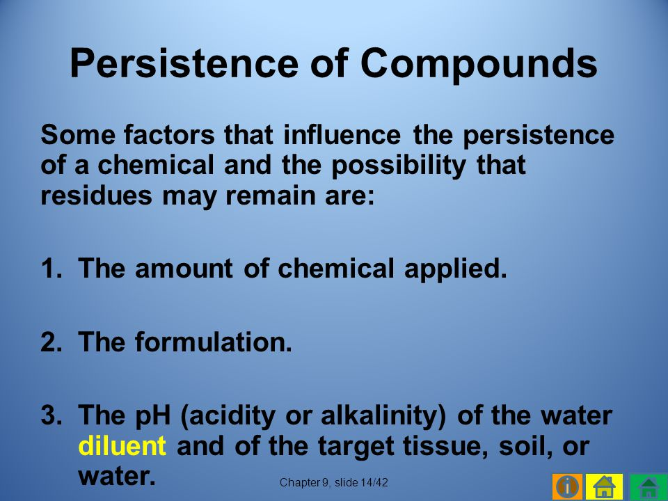 Persistence of Compounds