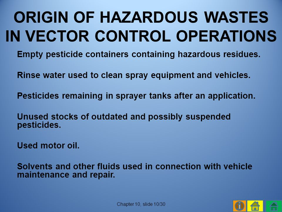 ORIGIN OF HAZARDOUS WASTES IN VECTOR CONTROL OPERATIONS
