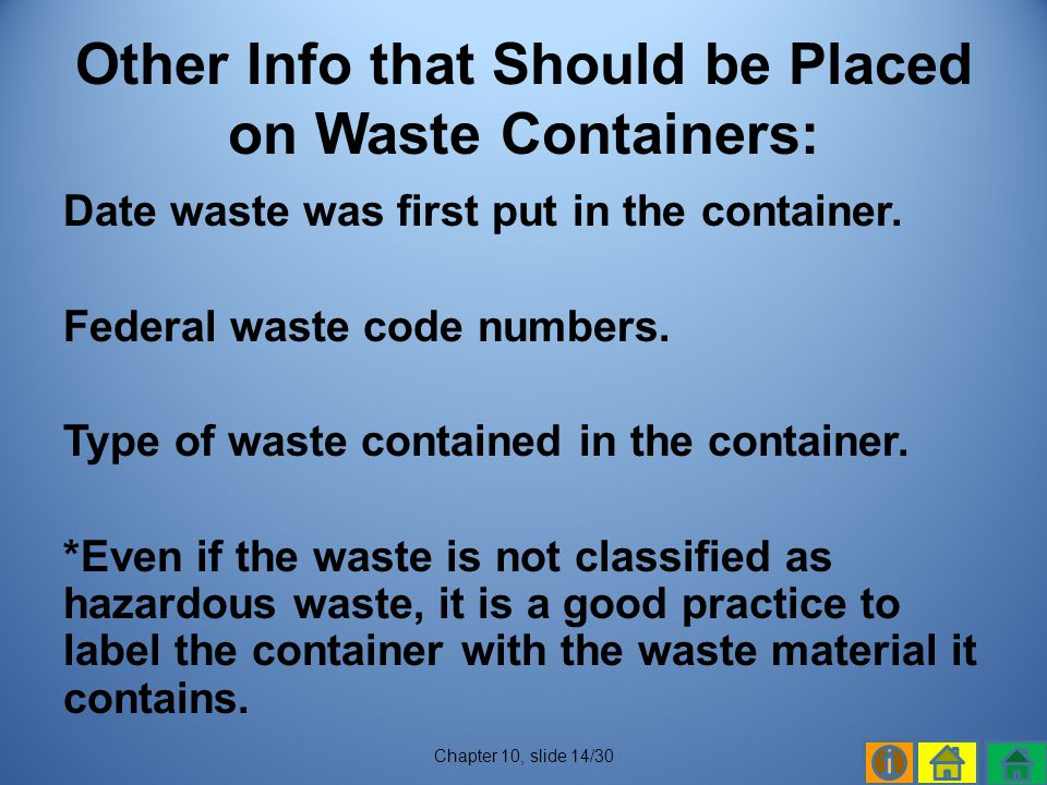 Other Info that Should be Placed on Waste Containers: