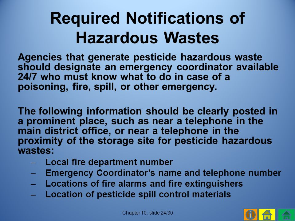 Required Notifications of Hazardous Wastes