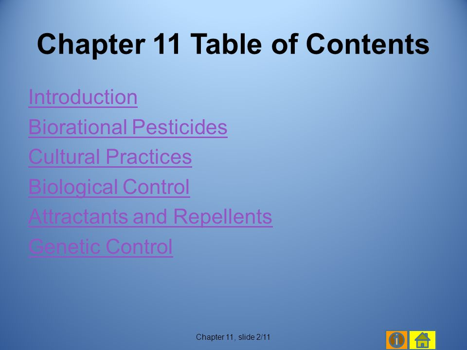 Chapter 11 Table of Contents