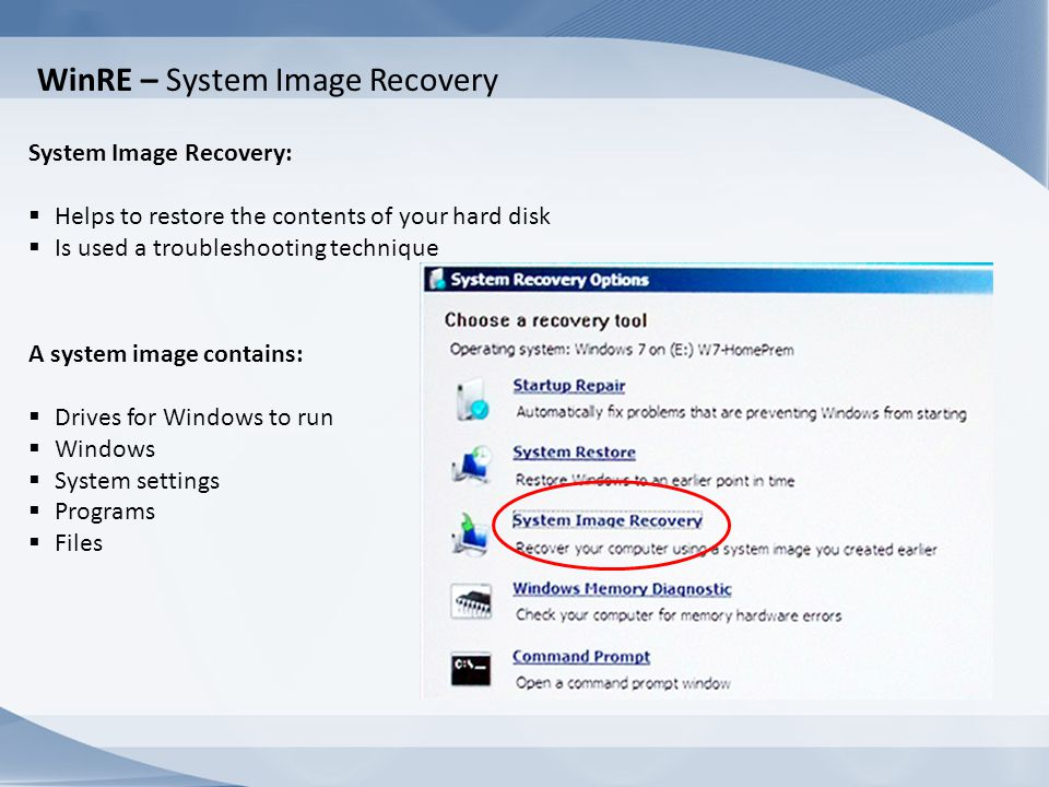 WinRE – System Image Recovery