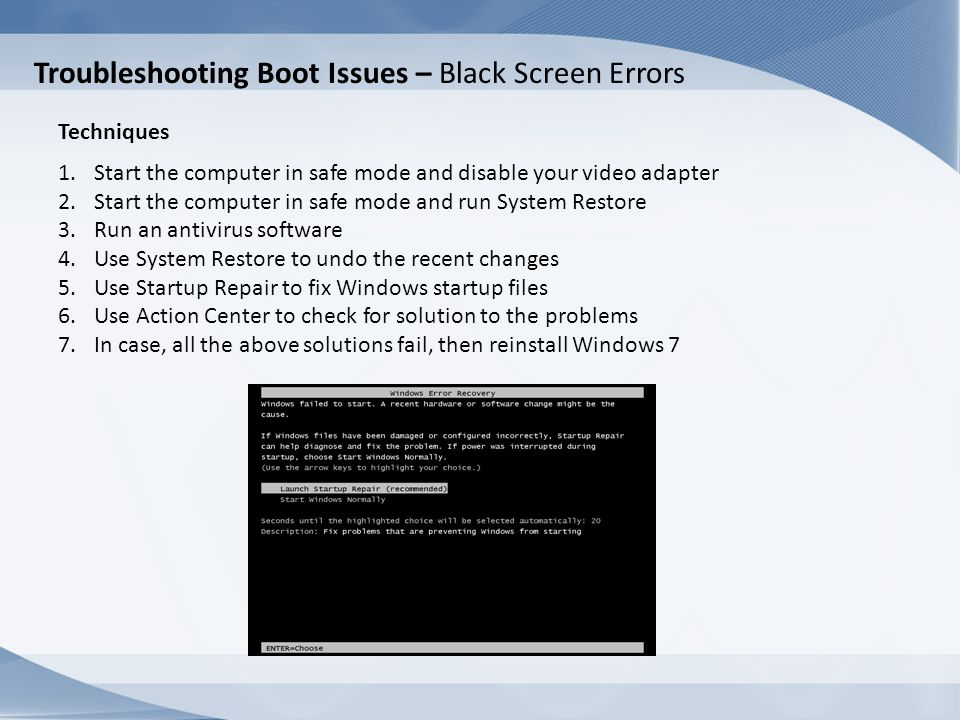 Troubleshooting Boot Issues – Black Screen Errors
