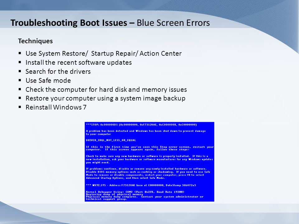 Troubleshooting Boot Issues – Blue Screen Errors