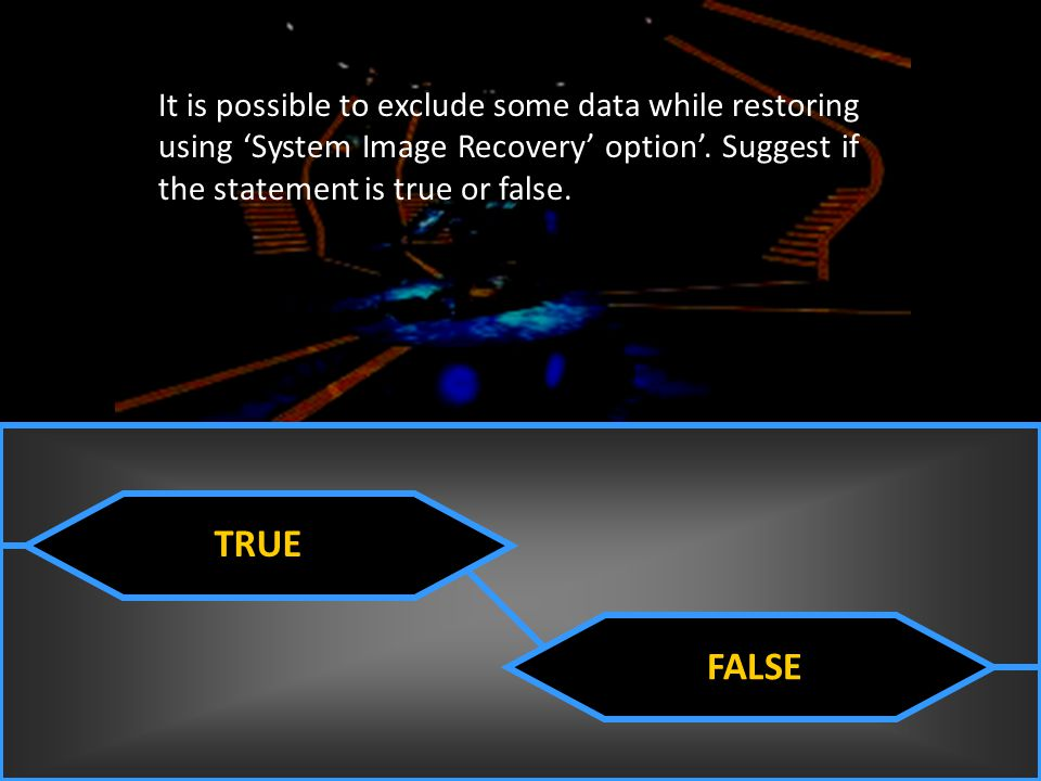 It is possible to exclude some data while restoring using 'System Image Recovery' option'. Suggest if the statement is true or false.