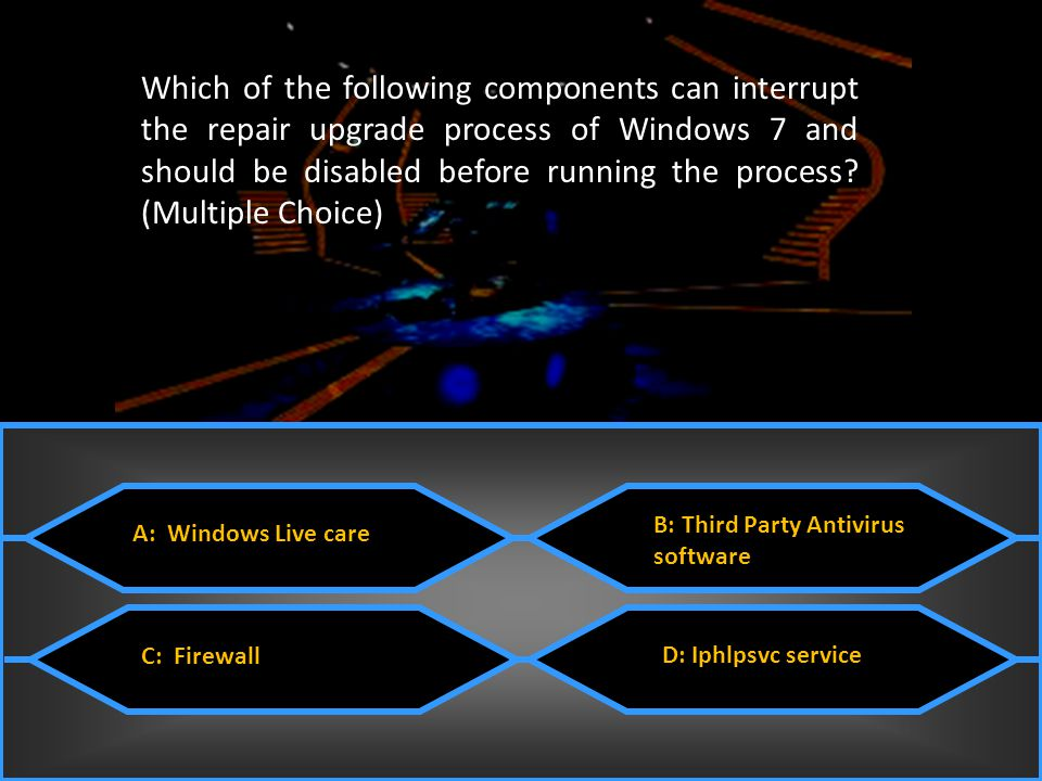 Which of the following components can interrupt the repair upgrade process of Windows 7 and should be disabled before running the process (Multiple Choice)