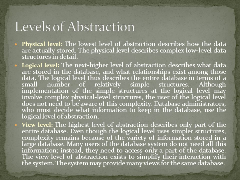 Levels of Abstraction