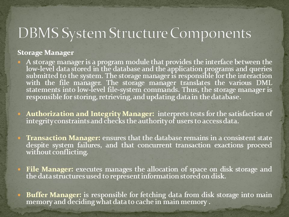 DBMS System Structure Components