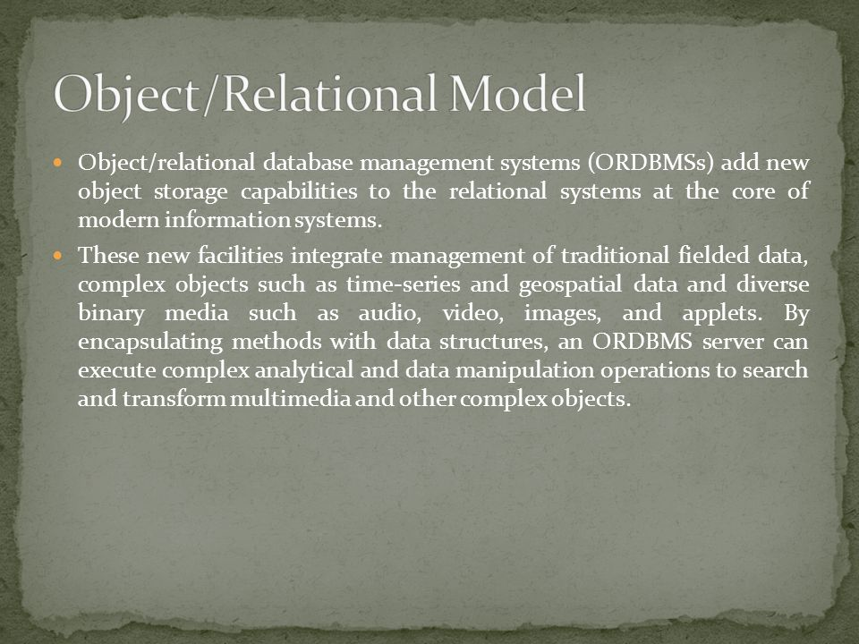 Object/Relational Model