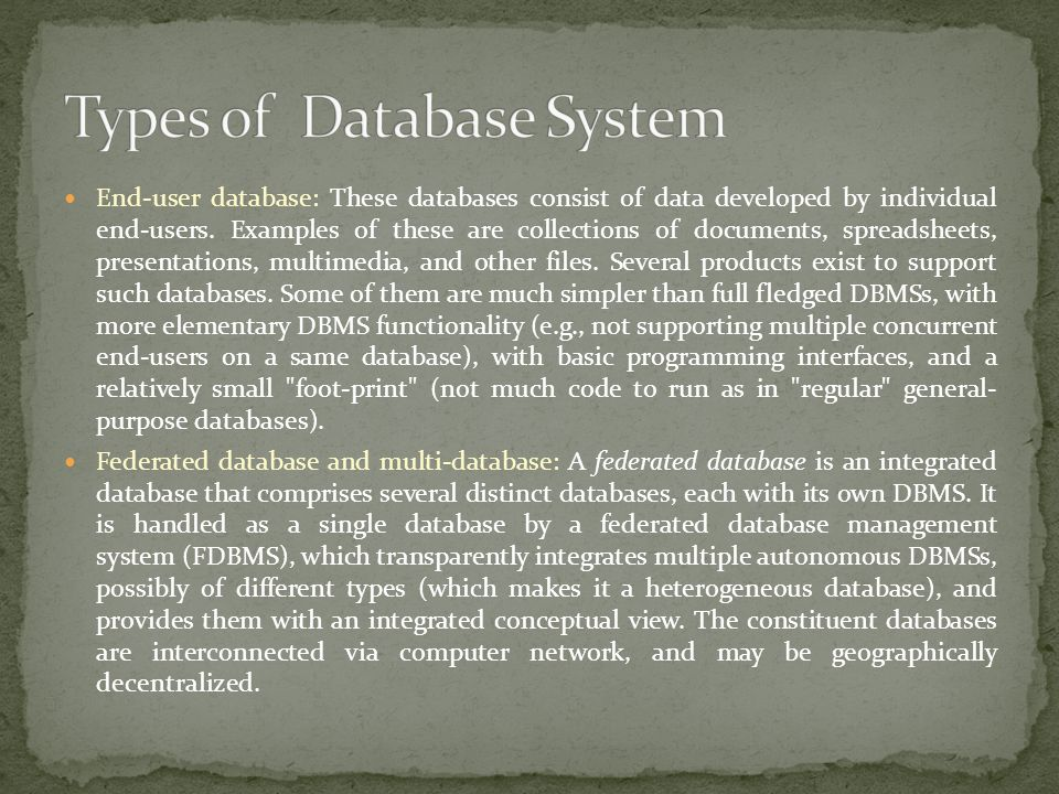 Types of Database System