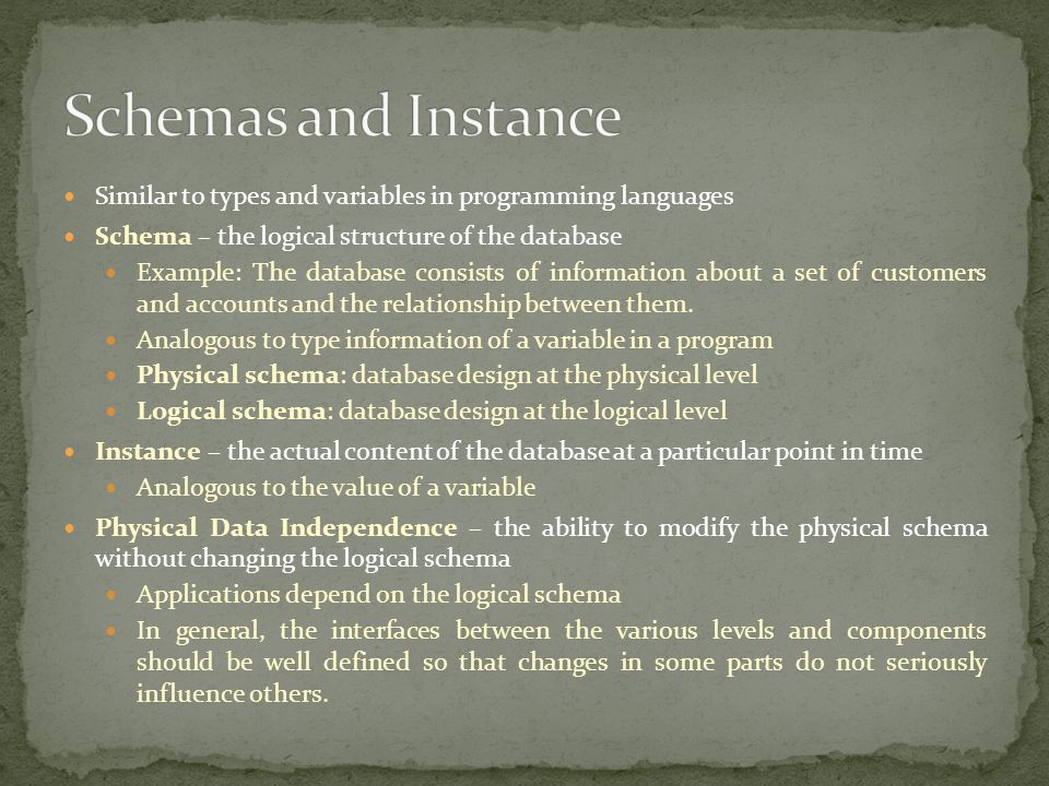Schemas and Instance Similar to types and variables in programming languages. Schema – the logical structure of the database.