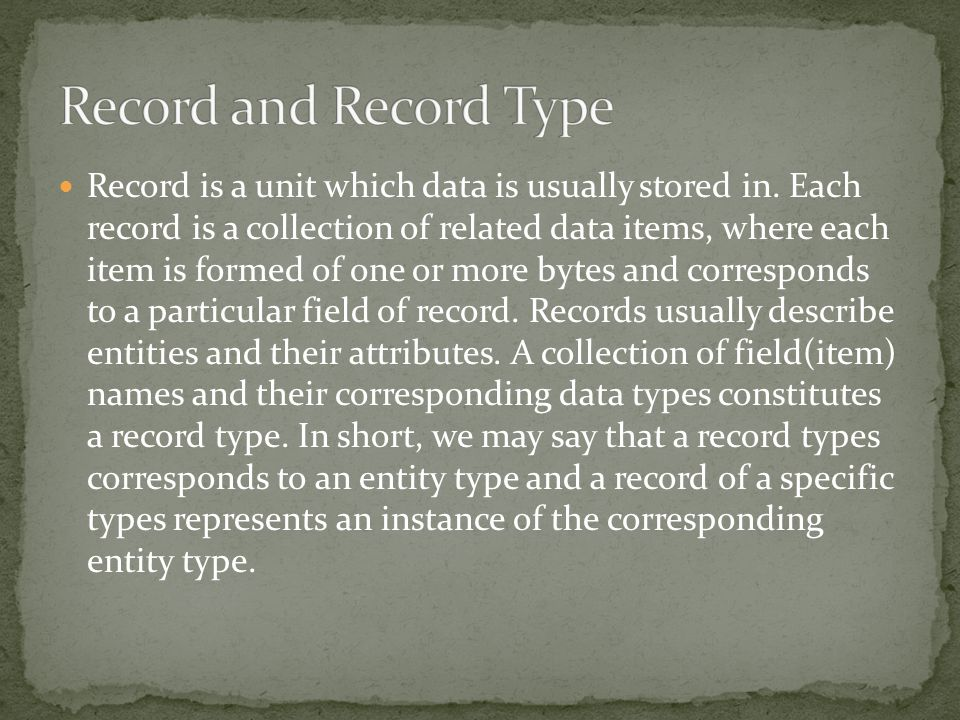 Record and Record Type