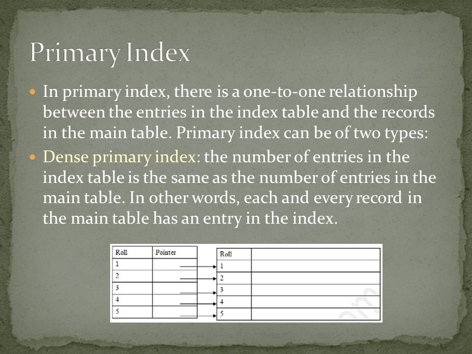 Primary Index