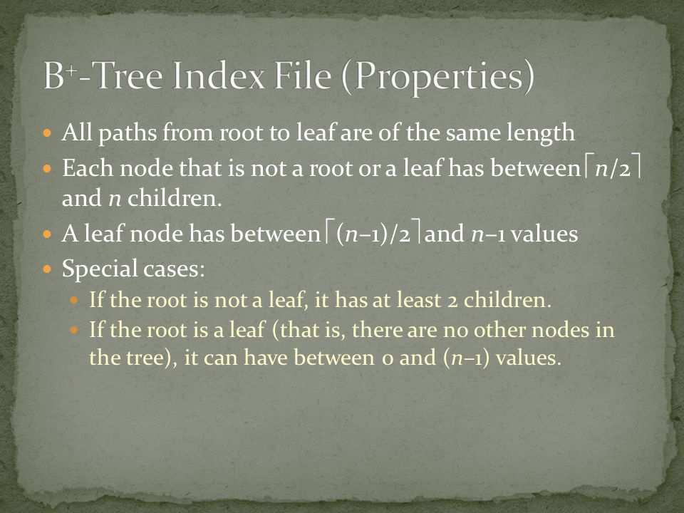 B+-Tree Index File (Properties)