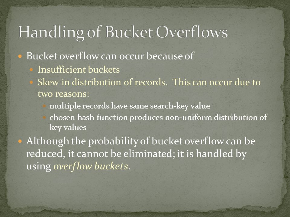 Handling of Bucket Overflows