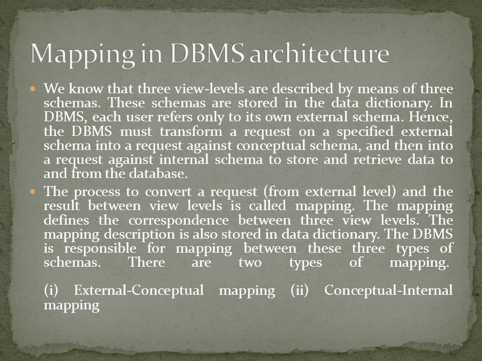 Mapping in DBMS architecture
