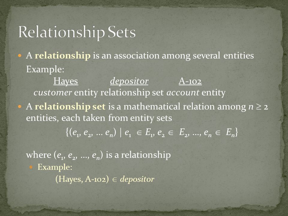 Relationship Sets A relationship is an association among several entities.