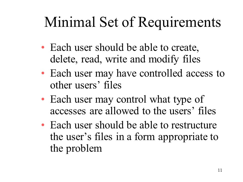 Minimal Set of Requirements