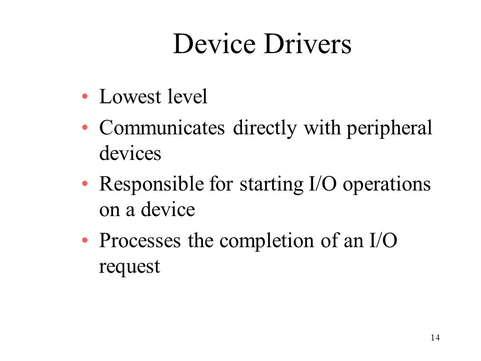 Device Drivers Lowest level