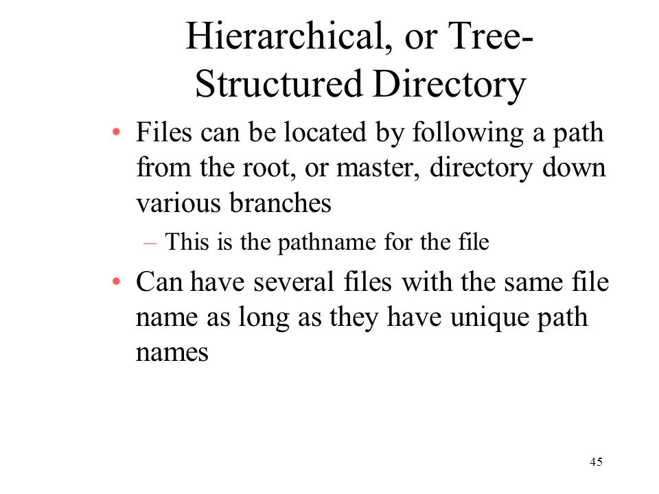Hierarchical, or Tree-Structured Directory