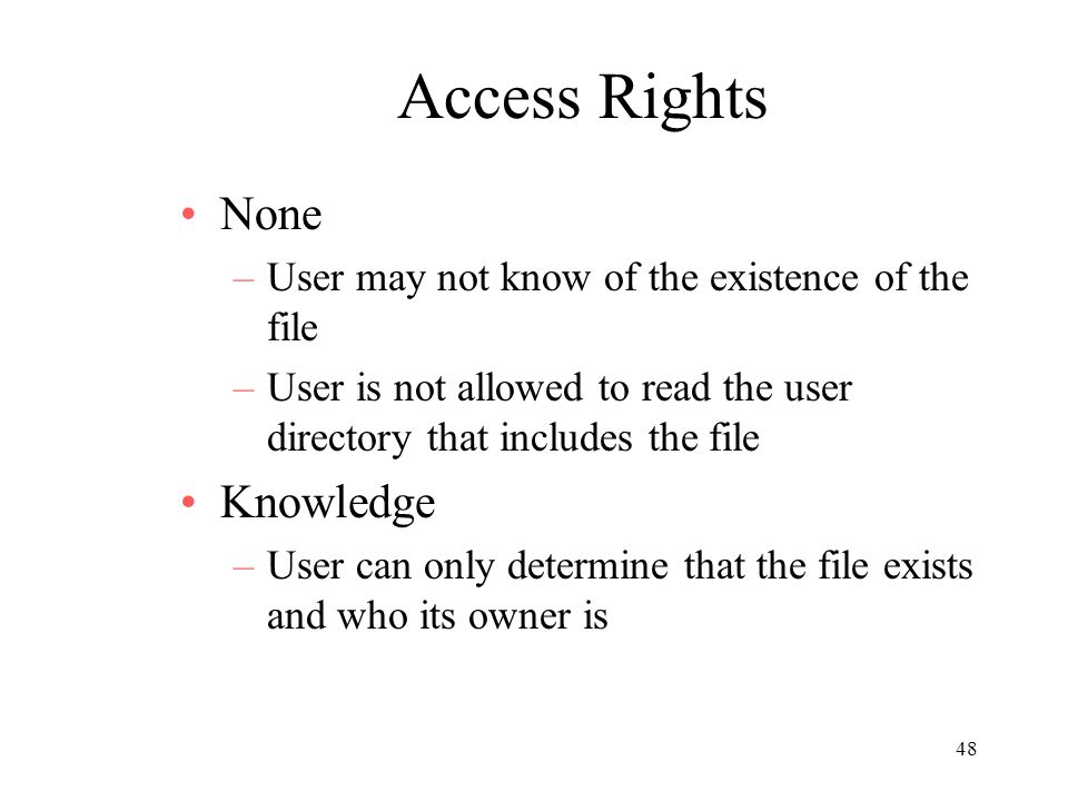 Access Rights None Knowledge