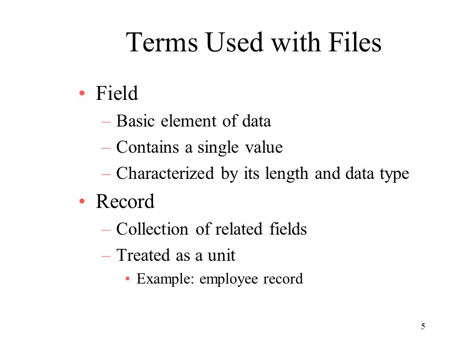Terms Used with Files Field Record Basic element of data
